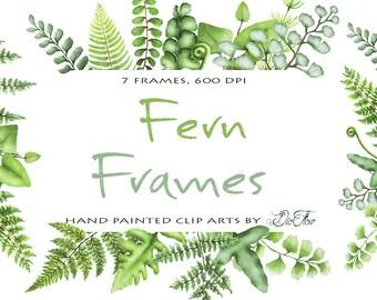 Watercolor Fern Clipart Greenery Frames Clip Art Ferns Leaf Leaves Woodland Vector Green Forest Illustration Wedding Invitation Foliage Fern
