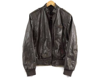 VTG 70s Cafe Racer Leather Jacket - Small Mens - Med Womens - Sergio Valente - Made in Canada - Vintage Clothing - Leather Bomber Jacket -