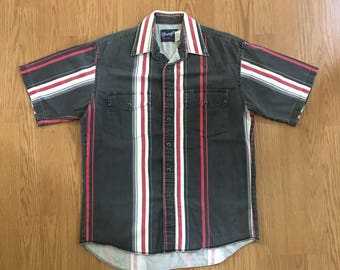 VTG Wrangler Western Shirt - Large - Striped Shirt - Short Sleeved - Cowboy Shirt - Rockabilly - Vintage Clothing - Long Tails -