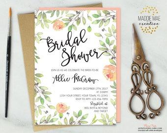 Peach Greenery Bridal Shower Invitation / Bridal Shower Invite, Trendy, Modern, Bridal Brunch, Bridal Tea, Calligraphy, Feminine, Watercolor