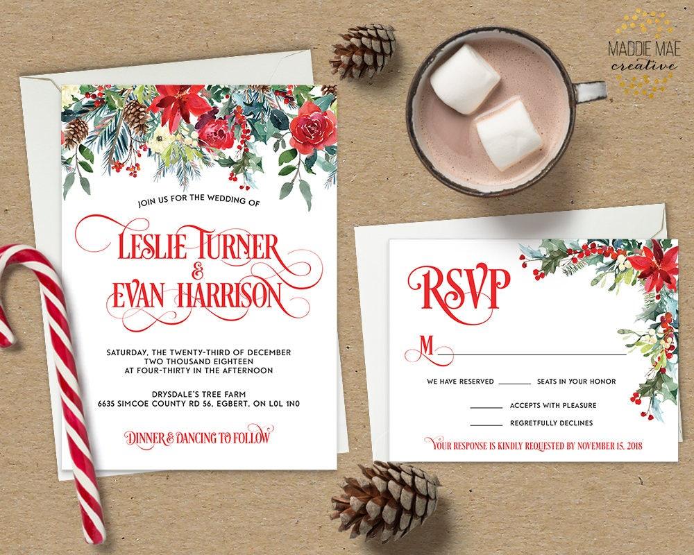 Christmas Wedding Invitation // Holiday Wedding, Festive, Mistletoe ...