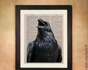 SALE-SHIPS Aug 22- Raven Dictionary Art Print, Black Bird Crow Edgar Allen Poe Animal  Wall Art Upcycled Book da138