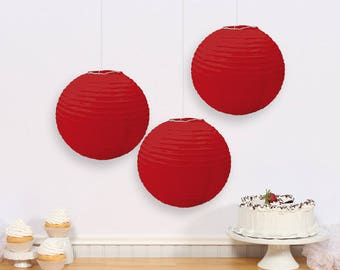 Set Of Three 9 1/2 Inch Red Paper Lanterns - Wedding - Anniverary - Birthday - Shower - All Occasion Party Decor