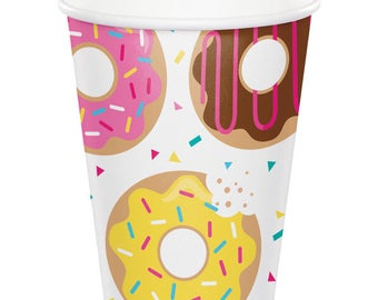 8 Pack Donut Party Theme Strong Hot & Cold Disposable Paper Cups - Birthday Cups - More In This Fun Theme In This Shop!
