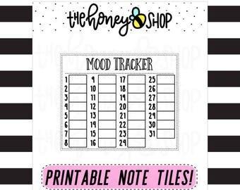 Mood Tracker | PRINTABLE NOTE TILE