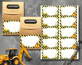 Construction Labels Instant Download Printable Labels
