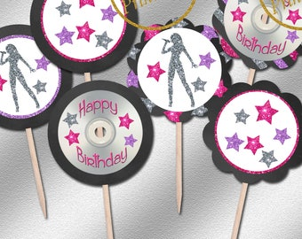 Instant Download, Pop Star Cupcake Toppers, Printable Pop Star Cupcake Topeprs, Pop Star Birthday Ideas