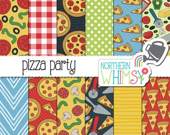 "Food Digital Paper - ""Pizza Party"" - hand drawn pizza and ingredient seamless patterns in red, green, yellow and blue - commercial use OK"