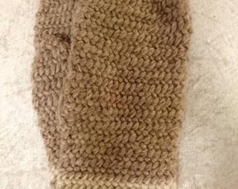 Beige-brown needlebound winter mittens size XL