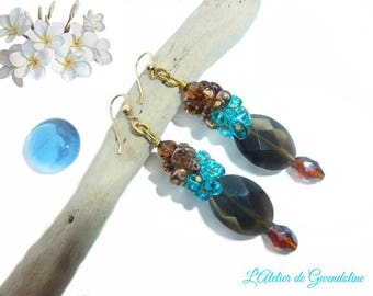 Earrings, Brown, turquoise, gem stone, glass beads, Gold Filled 14 K gold plated, ties
