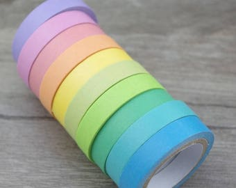 10 rolls of thin masking tape - Slim tape rainbow color