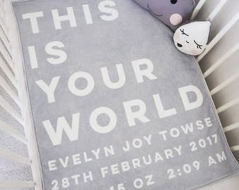 Personalised 'This Is Your World' New Baby Blanket - New Baby Keepsake - Baby Blanket - Personalised New Baby Gift - New Baby Gift