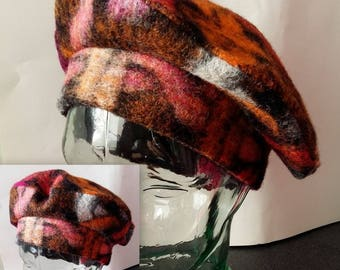Hat beret with fabric fancy fleece