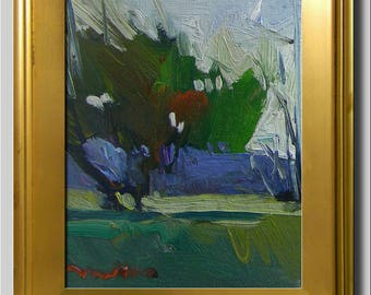Tree Painting, Impressionist Oil Landscape, Plein Air Painting, Green Blue Painting, Abstract Painting