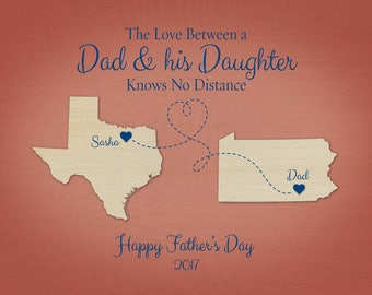 Birthday Gift for Dad, Long Distance Gift for Dad, Father and Daughter Quote, Custom Gift for Dad, Going Away Gift for Dad, Map Art