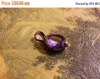 Holiday SALE 85 % OFF Amethyst Teardrop Slide Pendant  Gemstones  . 925 Sterling Silver