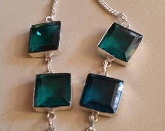 Holiday SALE 85 % OFF Green Tourmaline  Necklace .925 Sterling  Silver  Gemstone Christmas  Holiday