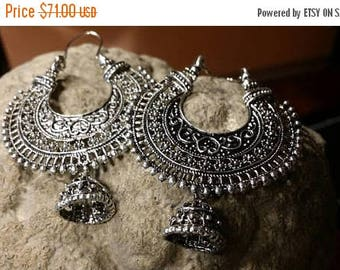 Holiday SALE 85 % OFF Silver Hammered Brass Hoops Earrings Tribal Mandala