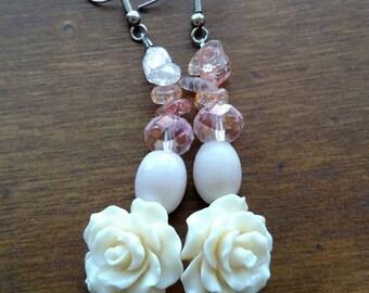 Rose and Pink Beaded Dangle Earrings - resin rose and pink glass beaded dangle earrings with earring hook by RiverbendmeadowBling