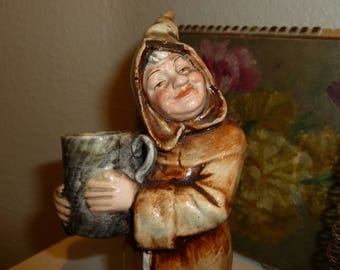 Wonderful Vintage Hand Painted Ceramic Monk From The 1960's