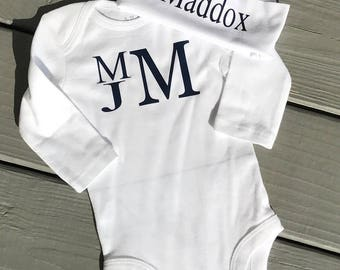 Personalized Baby Boy One-Piece Body Suit  and Cap