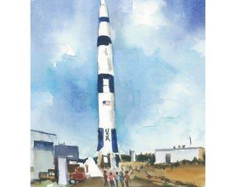 Space and Rocket Center in Huntsville watercolor art print - Digital Download Only- 5 by 7- Huntsville, Alabama- Instant Download-