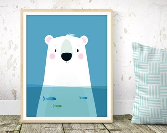 Nursery wall art - Polar bear print, Scandinavian kids art, animal nursery, nursery print, kids wall art, cute bear print, nursery decor
