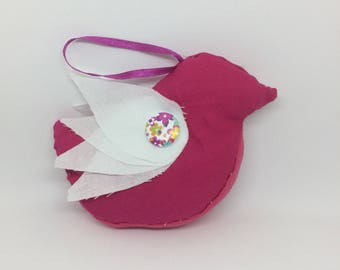 Textile bird bauble (fancy pink and white)