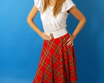 Tartan 70s midi skirt with pleats