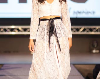 White Lace Long Sleeve Keyhole neckline crop top & Midi flared center front button up skirt with satin waist tie