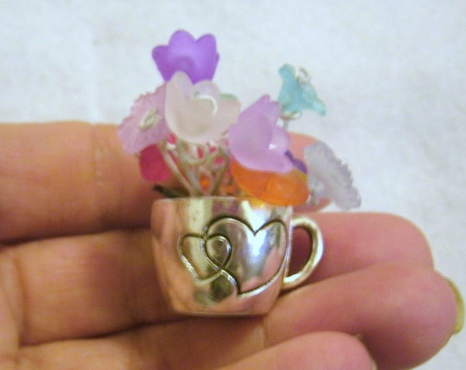 Miniature Cup O' Flowers-Dollhouse metal cups, flowers, tiny pewter cup no 2 the same, hearts on cup, mini home decor, made to order, OOAK