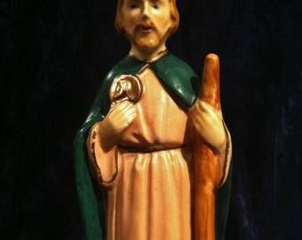 Vintage Hand Painted Ceramic Saint Jude Statue