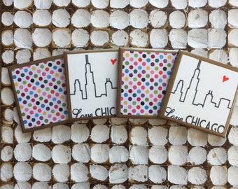 COASTERS!! Set of 4 LOVE Chicago Coasters