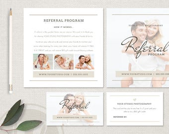 Photography Referral Card Template - Photography Referral Card, Referral Program, Instant Download, Photoshop Template