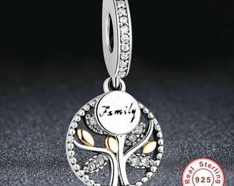 925 Silver Family Tree Charm Bead. 100% Sterling Dangle Hanging Pendant with CZ Crystals, Gold plated. Fits Pandora Jewelry Bracelet for DIY