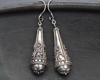 Silver Earrings, Silver Drops, Long Earrings, Filigree Earrings, Sterling Silver, Silver Granulation, Boho Earrings, Oxidised Silver, 925