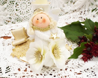 Angel candlestick Christmas fairy candlestick White and gold candlestick Ooak candlestick Christmas angel candlestick Christmas candlestick