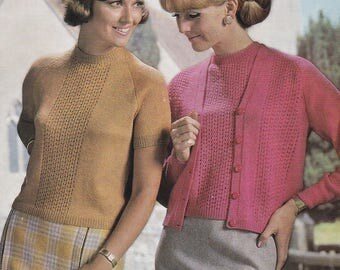 PDF womens twin set short sleeve top with cardigan vintage knitting pattern INSTANT download pattern only pdf