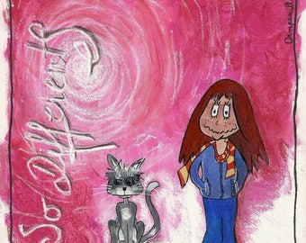 If different - painting illustration of Campanilla the bond between a girl and her cat