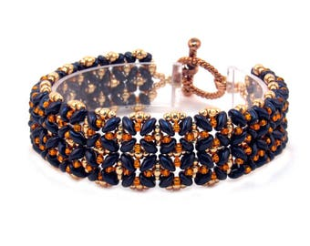 Blue and Orange Beaded Bracelet, Floral Motif Beaded Bracelet, Orange and Blue Beadwoven Bracelet, Bracelet with Copper Toggle Clasp