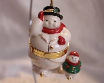 Vintage Lenox Snowman and baby Keepsake box / Christmas Ornament Original Package