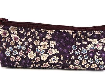 "Pocket in Liberty fabric and faux ""Purple flowers"""