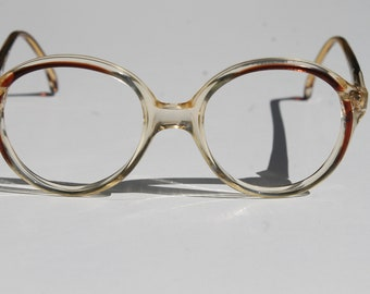 vintage lunettes LILLIPUT  by TRENTI 46-16 kids' clear transparent brown accent small almost round eye/sunglasses frames made in Italy New