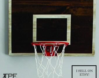Vintage Basketball Hoop Backboard with Rim Wall Decor-Great gift for him. Sports. Wood Hoop. Basketball Hoop. Rustic Hoop-CHOOSE YOUR SIZE