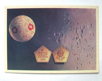 Space, Postcard with painting by Viktorov, Space, First Pennant on Moon, Unused, Unsigned, Soviet Vintage Postcard, USSR, 1971