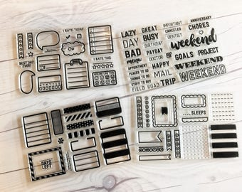 planner stamps, planner label stamps, bullet journal stamps, bills due, habit tracker stamp, half box, full box, weekend, Label BUNDLE