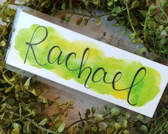 Personalized Name watercolor bookmark, made to order.