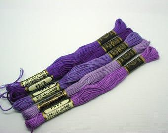 Lot de 5 échevettes coton à broder mouliné VENUS coloris mauve et violet - réf 8E