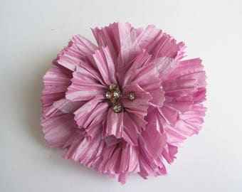 Application wrinkled glossy fabric flower brooch Pink Rhinestone Center