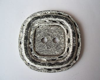 Very large button square 6.5 cm black and white matte
